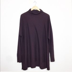 Loft | Eggplant Purple Cowl Neck Tunic Sweater XL